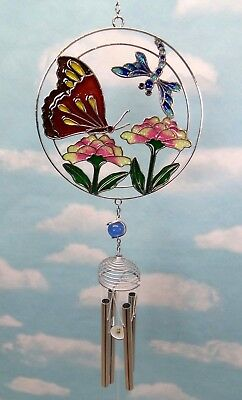 Butterfly Dragonfly Flowers Wind Chime Faux Stained Glass Home Garden Decor - Flowers Stained Glass Wind Chimes