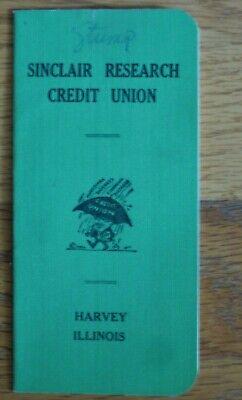 Sinclair Research Credit Union Harvey Illinois 1963 vintage savings book Oil