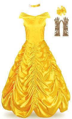 Adult Belle Costume Princess Dress Women Cosplay Halloween Party Ball Gown - Halloween Ball Gown