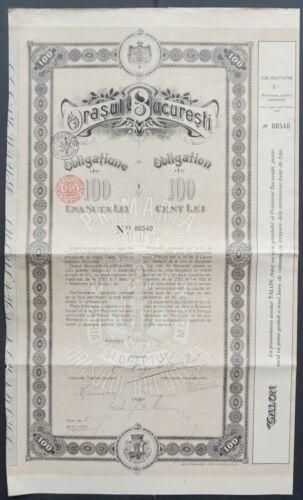 Romania - City of Bucarest (București) - 1910 - 5% bond for 100 Lei -RARE-