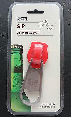 Rot Flaschenöffner (Monkey Business SiP - Flaschenöffner / Kapselheber in Form : Reißverschluss rot)