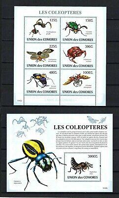 Comoros 2009 Sc#1077-78  Beetles  MNH Miniature & Souvenir Sheet Set $27.00