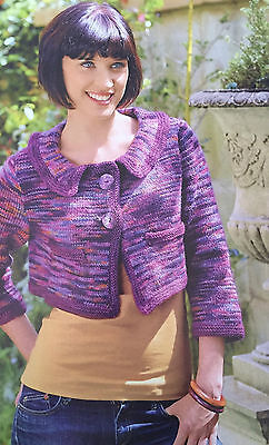 KNITTING PATTERN Ladies Cropped Cardigan Collared Cardigan 1960's Colinette