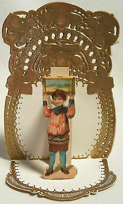 vintage 1920s~30s folding VALENTINE CARD boy, framed painting over head, German