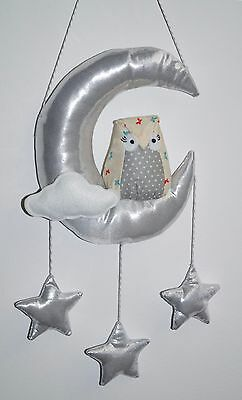 Owl nursery room decor wall decor Silver/ gold Moon and stars,shower gift - Moon And Stars Baby Shower Decorations