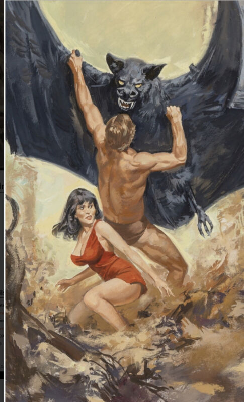 Tentacles of Dawn Paperback cover art! Giant bat and a Hot Babe in distress!