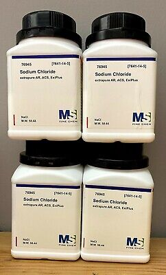 Sodium Chloride Crystals Acs 99 Certified 2kg Grams Nacl - 4x500g Bottles
