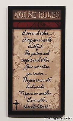 PRIMITIVE COUNTRY WOOD HOUSE RULES HANDMADE INSPIRATIONAL HOME WALL DECOR -