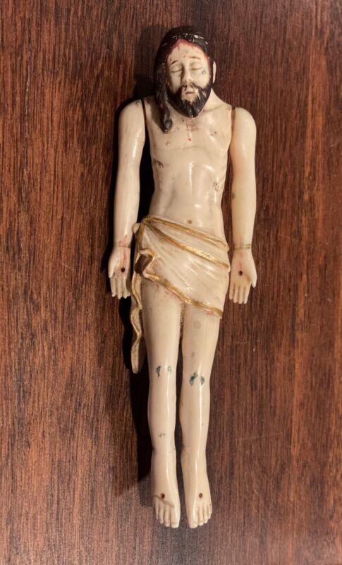 RARE Antique Christ in repose 18th c? Goa carved bovine