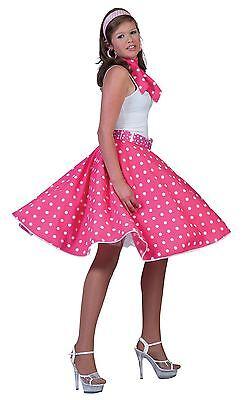 1950s Rock n Roll Pink Rock & Schal, Gepunktet Jive Bopper Kostüm (1950's Kostüm)