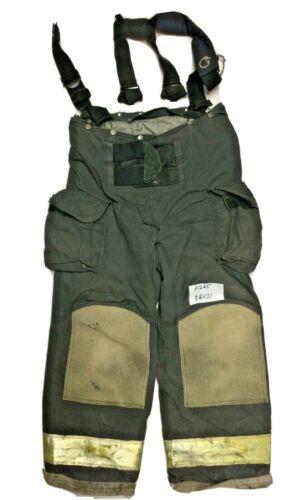 38x31 38L Janesville Lion Black Firefighter Turnout Pants with Suspenders P1285