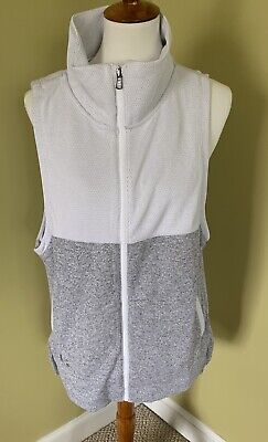 Womens Under Armour Cold Gear Loose Full Zip Gray White Vest Size Large NWT $70