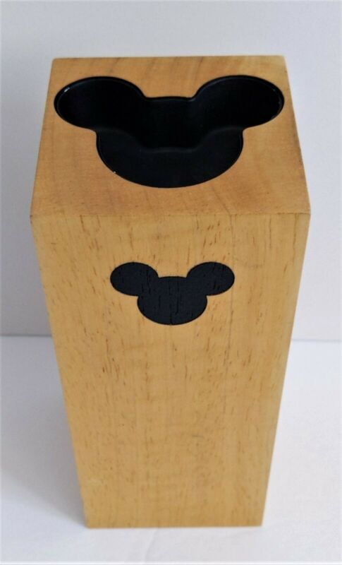 """Disney Tea Light Candle Holder 7"""" x 3"""" Solid Wooden Block Mickey Mouse"""