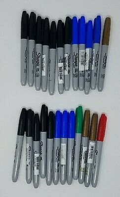 Lot Of 24 Mixed Fine Point And Regular Permanent Sharpie Markers