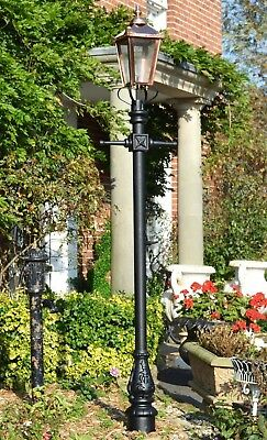 Ex Outdoor Lights - USED Ex-Display 2.7m Copper Cast Iron Victorian Garden Lamp Post + Lantern Set