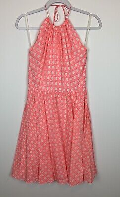 Vineyard Vines Women's size 0 Pink Coral Sand Caning Print Halter Dress Silk EUC