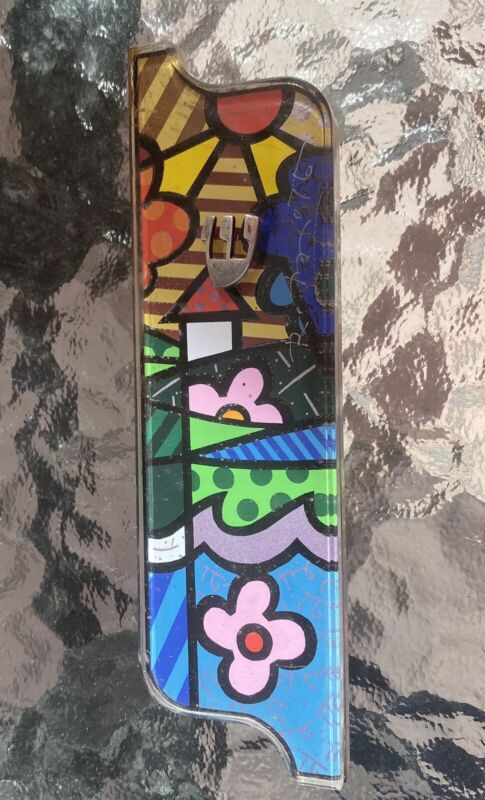 Authentic Romero Britto Hand Etched Mezuzah w/Kosher Scroll Limited Edition