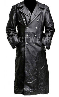 MEN'S GERMAN CLASSIC WW2 MILITARY OFFICER UNIFORM BLACK LEATHER TRENCH - Men Leather Coats