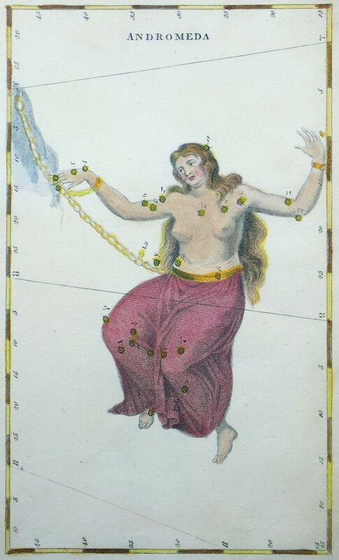 [Anonymous] Celestial Chart ANDROMEDA [George Virtue, London: 1823]
