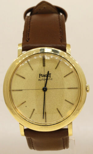 VINTAGE MEN'S 18K YELLOW GOLD PIAGET AUTOMATIC WATCH WITH LEATHER BAND #E47