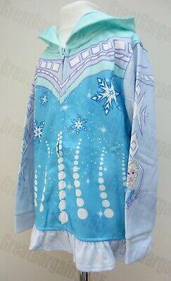 Girls Official Disney Frozen Hoodie Full Zip Fleece Lined Snow Flake Age 3 4 5 6