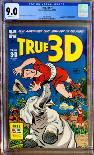 TRUE 3-D #1  CGC 9.0 VF/NM a 1953 HARVEY comic with two pairs of glasses