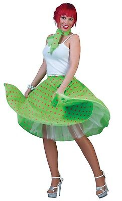 Fifties Rock 'N' Roll Skirt & Scarf Fancy Dress Outfit Size 10-14 (Green)