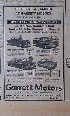 1958 newspaper ad for Rambler, American, Cross Country, Ambassador, Metropolitan segunda mano  Embacar hacia Argentina