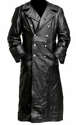MENS BLACK REAL LEATHER TRENCH COAT CLASSIC OFFICER MILITARY  - GERMAN COAT