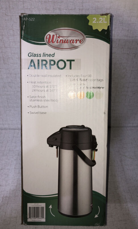 Winco 2.2L Glass Lined Airpot w/Push Button Top, S/S Body