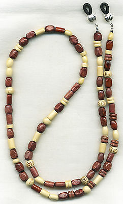 MIXED WOODS Beaded Eyeglass~Glasses Holder Necklace Leash Chain *CUSTOM LENGTH*