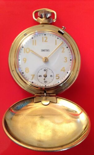 FABULOUS REBUILT SMITHS FULL HUNTER POCKET WATCH GOLD PLATED LATE 1970;s