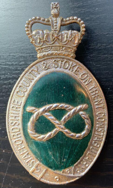 Vintage Staffordshire UK Police Bobby Cap Badge Enameled Green