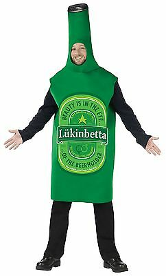 Mens Beer Bottle Costume Can Glass Suit Funny Outfit Adults Green Tunic L XL NEW - Mens Funny Costumes