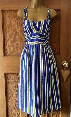 ASOS Summer Midi Dress Size 12. Vintage Look. Ruched Blue Indian Cotton Nautical