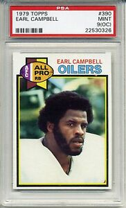 1979 Topps Football #390 Earl Campbell Rookie Card PSA MINT 9 oc