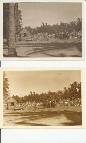 1930  Kodak Hula Show from back  Waikiki Hawaii Two 5x7 Photos one sepia tone