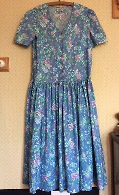 Vintage Laura Ashley Drop Waisted Dress. Short Sleeves. UK 12 Blue/Floral Cotton
