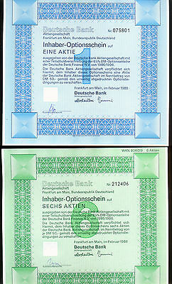 Germany Group Of 2 Different Embossed Logo Deutsche Bank Option Certificates