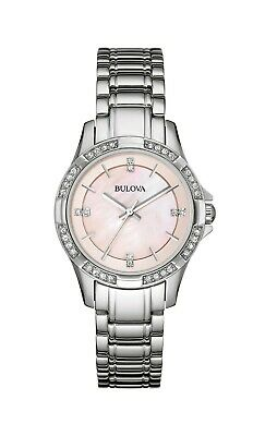 Bulova Women's 96L206 Quartz Crystal Accent Pink Dial Bracelet 30mm Watch