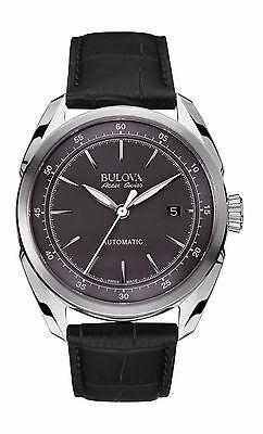Bulova Accu Swiss Men's 63B188 Tellaro Automatic Black Leather Strap 42mm Watch