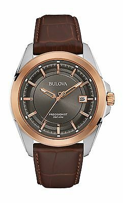 Bulova Men's 98B267 Precionist UHF Quartz Black Dial Brown Leather Watch