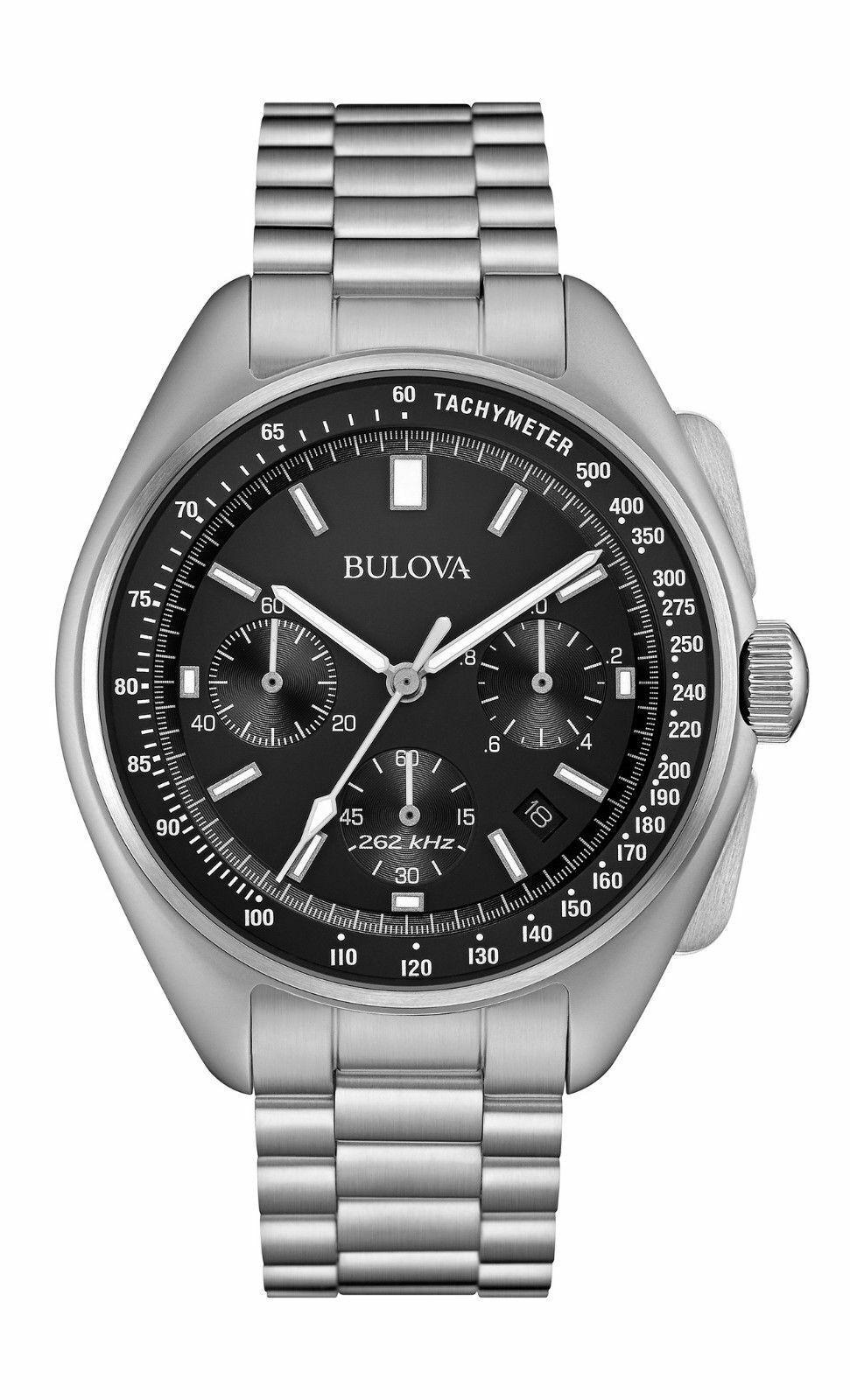 New Bulova Speical Edition Lunar Pilot Chronograph Black Dial Men's Watch 96B258