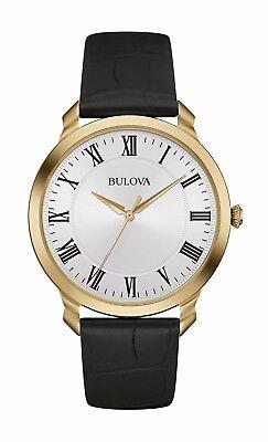 Bulova Men's Classic 97A123 Quartz Gold Tone Case Black Leather Strap 41mm Watch