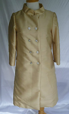 Vtg BERNETTI 2 pc silk dress jacket lt yellow FREDERICK & NELSON Jackie Kennedy