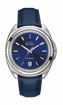 Bulova Accutron Men's 63B185 Accu Swiss Telc Automatic Blue Leather Dress Watch
