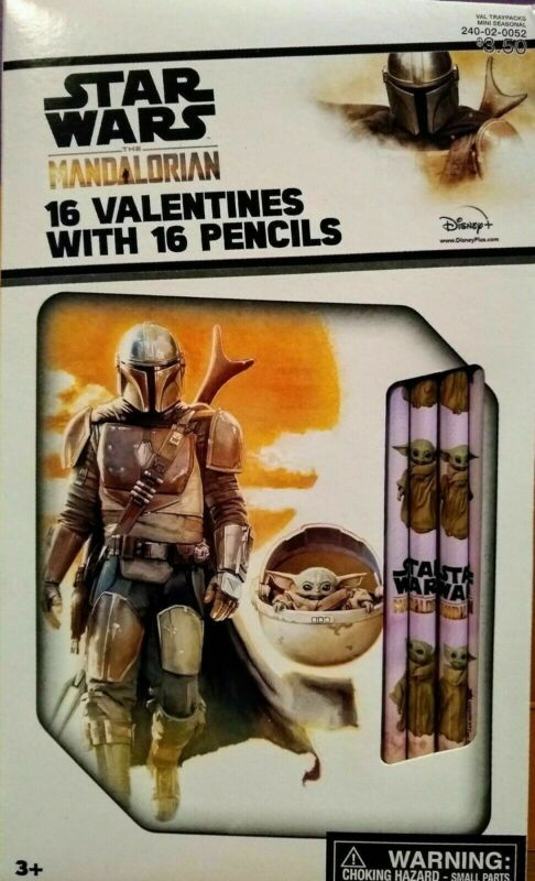 Star Wars The Mandalorian 16 Valentine Cards + 16 Valentines Day Card Pencils