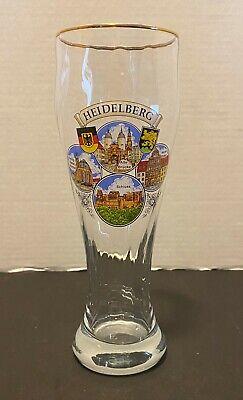 Heidelberg Schloss Alte Brucke Heilihgeist Kirche Tall German Beer Glass Gold