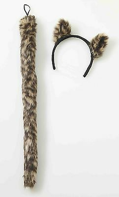 Kit Kat Costume (Cougar Cat Ears Tail Costume Kit Cheetah Leopard Faux Fur Furry Adult Child)