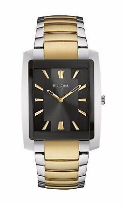 Bulova Classic Men's 98A149 Quartz Rectangle Case Black Dial Two-Tone 35mm Watch
